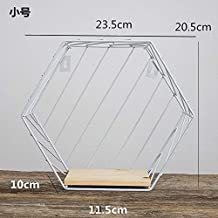 TOOGOO Madera Hierro Arte Rejilla Hexagonal Estante de Pared Combinaci/óN Colgante de Pared Figura Geom/éTrica Decoraci/óN de Pared-Negro L
