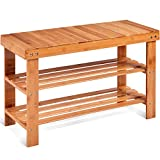 COSTWAY Bamboo Shoe Rack Bench 3-Tier Free Standing Wood Shoe Storage Organizer Shelf Holder Home Entryway Hallway Furniture Eco-Friendly (Natural)