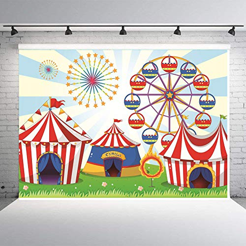 Art Studio 7x5ft Photo Background Circus Carnival Theme Party Decor Supplies Ferris Wheel Backdrops Kids Birthday Studio Props Booth Vinyl
