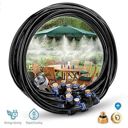 Mustbe Strong Außennebel-Kühlsystem 75.46FT (23M) -Nebellinie + 34 Messing-Nebeldüse + Messingadapter Für Gartenschirm (3/4) Im Gewächshaus-Trampolin