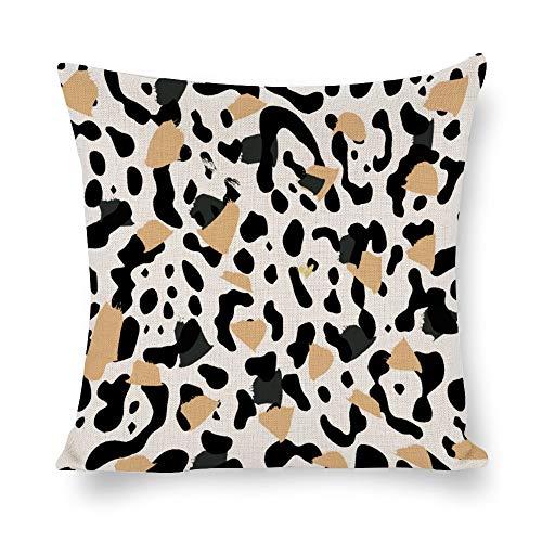 N/ A Animal Skins - Funda de cojín decorativa para sofá (60,9 x 60,9 cm), diseño de leopardo, color negro y beige