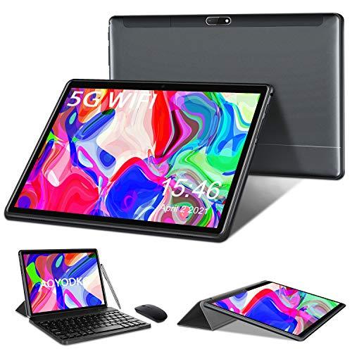 Tablet 10 Pollici Android 10, 4-Core 1.6 GHz 4GB+64GB Tablet PC-Google GMS-128GB Espandibili | Mirroring| 6000mAh| Bluetooth| GPS| Fotocamera(5MP+8MP), Mouse e Tastiera,Grigio (Solo WiFi)