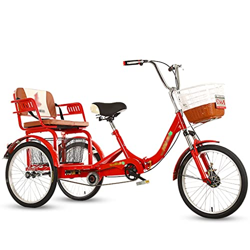 LICHUXIN Triciclo para Adultos con Cestas y Asiento Respaldo 20 Pulgadas Bicicleta con 3 Ruedas para Adultos y Personas Mayores Compras Picnic Deportes Al Aire Libre (Color : Red, Size : 20in)