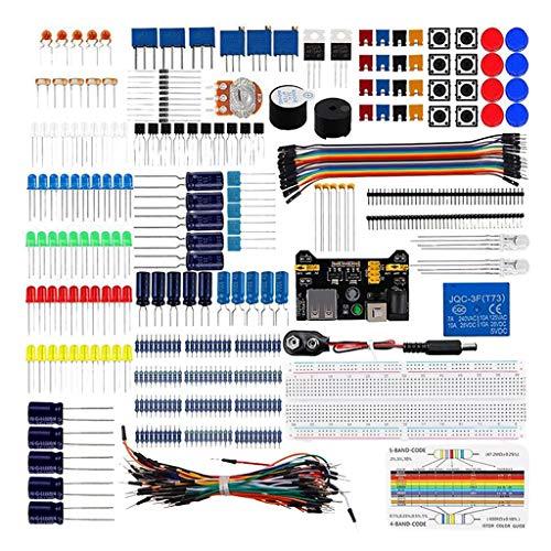 harayaa Componente electrónico Kit de inicio básico con Sensor de llama, potenciómetro de precisión, zumbador, condensador Compatible con