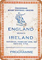 2個 20 * 30CMメタルサイン-1927年ラグビーイングランド対アイルランド メタルプレート レトロ アメリカン ブリキ 看板