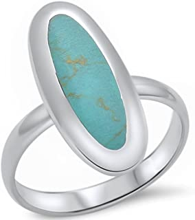 Oval Solitaire Wedding Ring Green Turquoise Inlay Solid 925 Sterling Silver 3-12