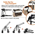 Display4top Pet Travel Stroller Dog Cat Pushchair Pram Jogger Buggy w/Locking Zippers Plush Nap Pillow 2X Interior Room Airy Windows Sunroof Reduces Anxiety 15