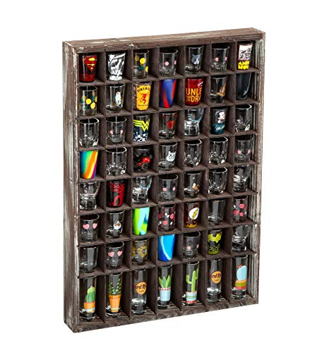 J JACKCUBE DESIGN - Rustic Wood Shot Glasses Display Case 56 Compartments Wall Mount Pint glass Shadow box Bar Cabinet Collection Freestanding - MK524A