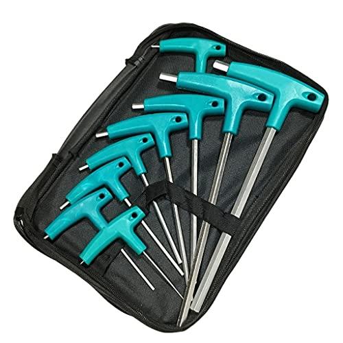YWSZJ Llave Allen Set 9 Piezas/Conjunto De Llave T T-Llaves, Destornillador Hexagonal, Herramienta De Mano, Coche, Bicicleta, Reparación De Motocicletas (Color : Multi-Colored)