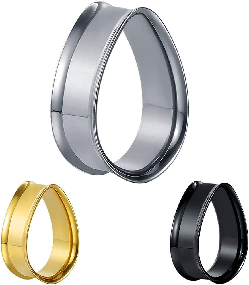 TBOSEN 2PCS Water Drop Shape Flesh Tunnels Ear Plugs Stainless Steel Ear Gauges Stretcher Expander Tunnels Gauges Piercing Jewelry 0g-1