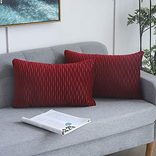 Yeadous Burgundy Red Striped Decorative Cushion Covers for Sofa Couch Bed, Classic Velvet Wavy Stripes Throw Pillow Cases, 12x20 inches, 30x50cm, Set of 2