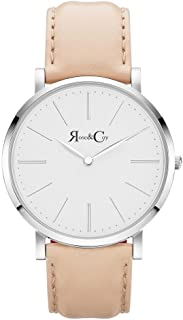Rose & Coy Men's Quartz Pinnacle Ultra Slim 40mm White Dial Watch with Silver Case with Peach Leather Strap analog Display and Leather Strap, RC0302