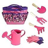Newin Star Kindergarten Werkzeug-Set Kindergarten-Werkzeug-Set mit Gießkanne, Handschuhe, Rechen, Garten-Tasche Garten-Accessoires für Kinder Kleinkind Rosa