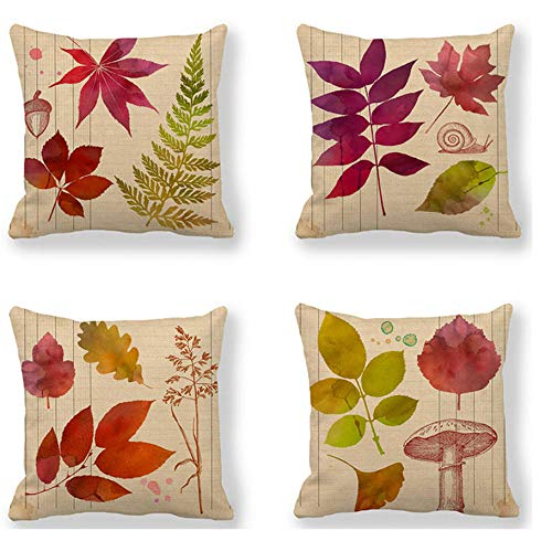 4PCS 18'x18' Throw Pillow Covers Square Printed Cotton Linen Cushion Cover for Car Sofa Home Decor(Autumn Leaves)