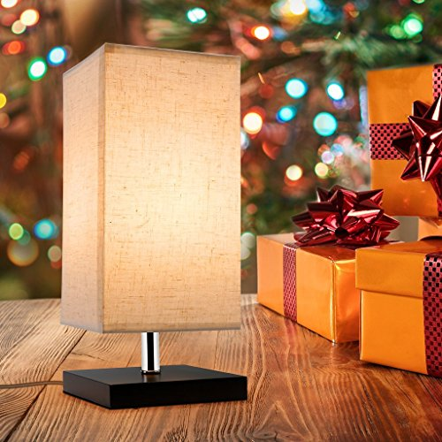 Finether Minimalist Wood Desk Lamp | Table Lamp with Fabric Shade Modern Bedside Lamp for Bedroom, Living Room, Office