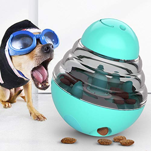 JIMACRO Juguetes para Perros, Alimentador de Comida para Perros, Bola de Tratamiento IQ Rompecabezas Juguetes Interactivos Educativos Dispensadora de Comida con Ajuste para Mascotas Perros (Blue)