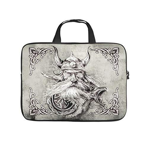 Neoprene Viking Odin Laptop Case Sleeve Bag Carry On Handle Case - for Work/Business/School/College/Travel White 10 Zoll