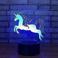 3DスマートLEDベッドサイドランプ3D目の錯覚ナイトライトUSBUS7色センサーデスクランプボーイズデスクホームデコレーションおもちゃ
