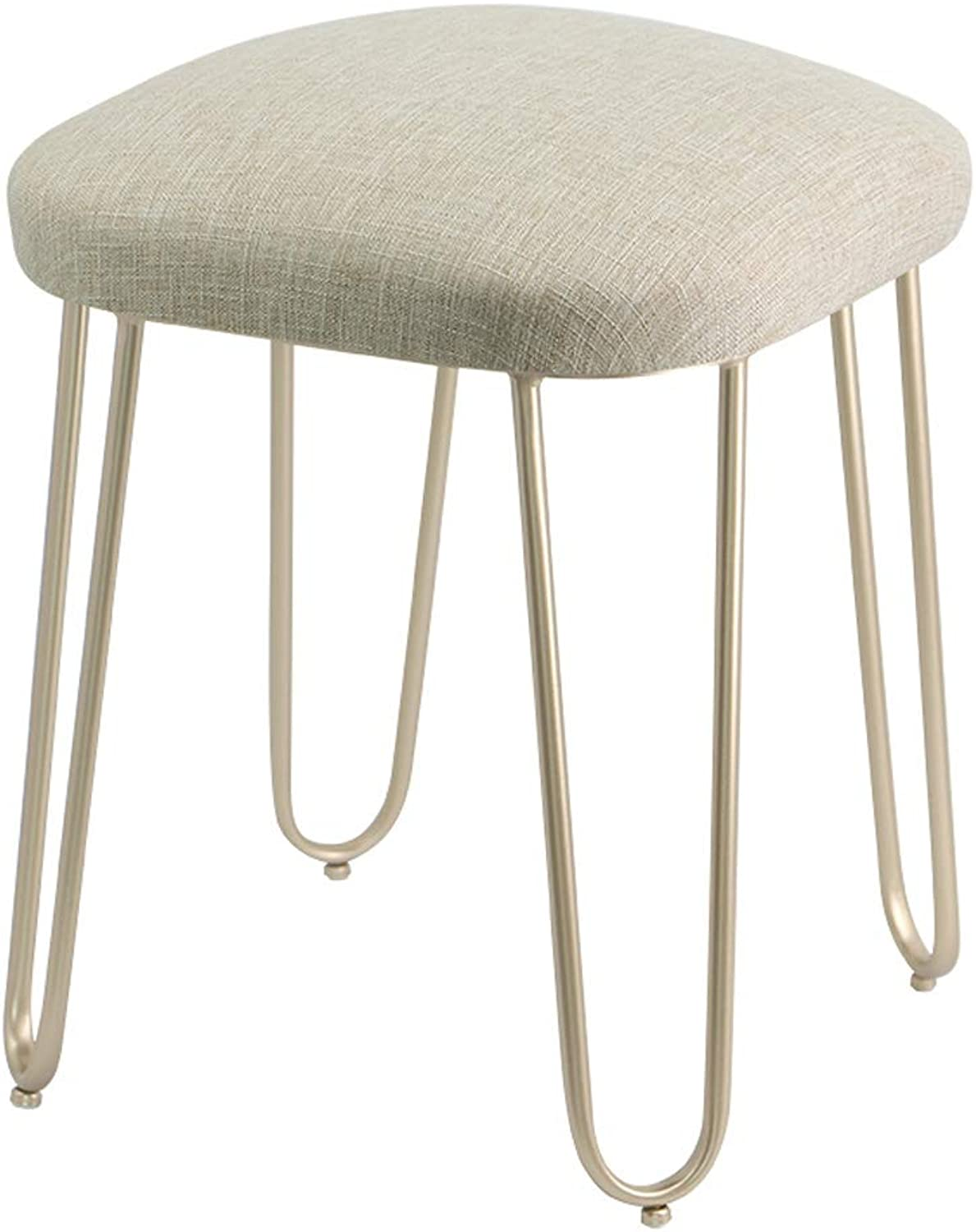 Fabric Stool Dressing Stool, Modern Household shoes Bench Simple Coffee Table Stool, Suitable for Living Room, Bedroom, Dining Room (Khaki)