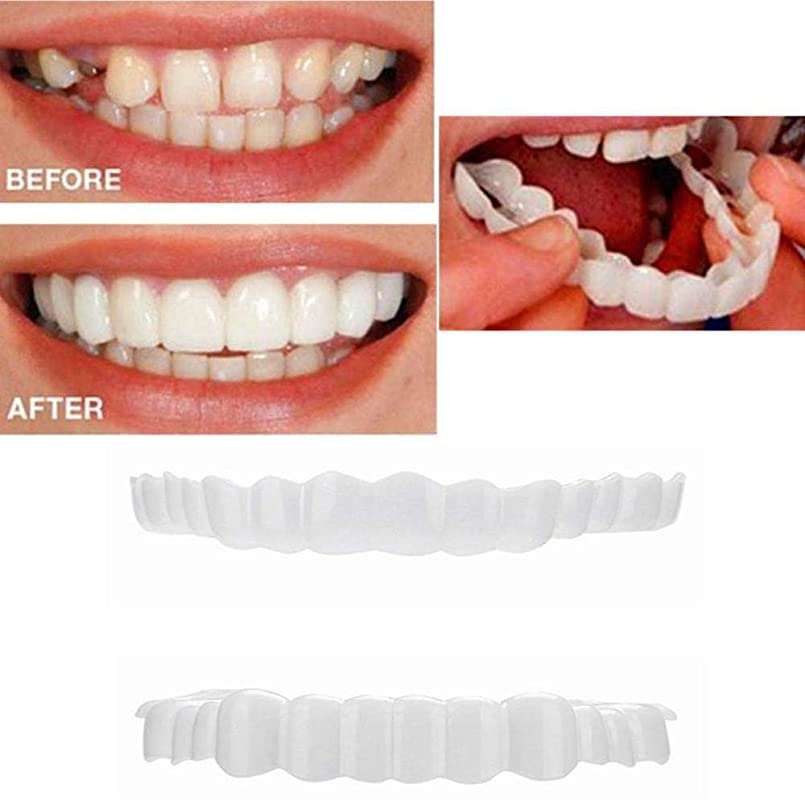 まっすぐ心理的複合最新の化粧板の歯、化粧品の歯3組 - 一時的な笑顔の快適さフィットフレックス化粧品の歯、ワンサイズ、スーペリアーとローワーコンフォートベニア - (Lower + Upper)