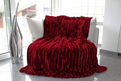 Brandsseller Pelzimitatdecke in Schwerer doppellagiger Qualität, Hochwertige Kuscheldecke, Decke, Wohndecke, Nerzdecke, Plaid, Webpelzdecke, Tagesdecke (Rot)