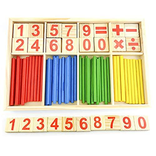 Mingtongli Los Palos y números de Contar los Palillos de Madera Bloques de Juguete de la Inteligencia para Niños matemático Desarrollo