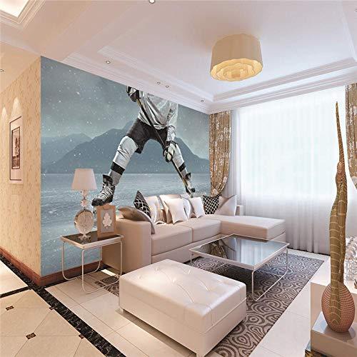 JFSZSD Vlies Wand Tapete Eishockey spielen Wandgemälde Tapete 3D Tapeten Wohnzimmer Schlafzimmer TV Hintergrund Wand Dekoration 350CMx250CM