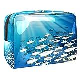 Borsa da trucco portatile con cerniera da viaggio borsa da toilette per le donne Handy Storage Cosmetic Pouch scena subacquea con scuola di tonno
