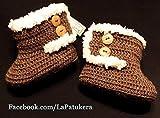 Patucos para bebé de crochet, Unisex. Estilo botas Canadá de color Marrón,...