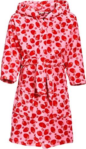 Playshoes Mädchen Kuschelweicher Fleece, Morgenmantel Erdbeeren Bademantel, Rosa (original 900), 98 (Herstellergröße: 98/104)