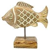 MACOSA HM29276-484 - Figura decorativa de pez sobre zócalo de madera de mango, color...