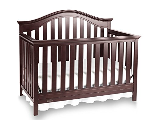 Graco Bryson 4-in-1 Convertible Crib, Espresso, Easily Converts to Toddler Bed Day Bed or Full Bed, Three Position Adjustable Height Mattress, Some Assembly Required (Mattress Not Included), full size