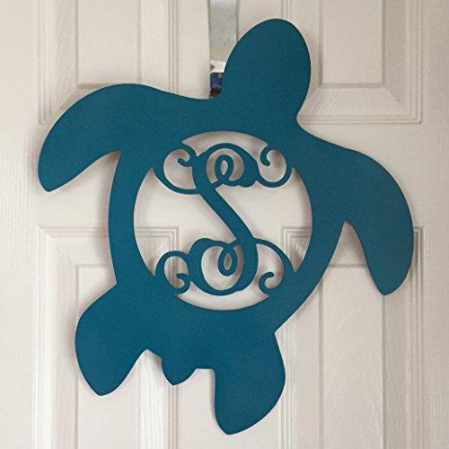 Monogram Turtle Wreath - Turtle Door Hanger - Nautical Door Hanger - Sea Turtle Initial Wreath - Marine Monogram - Sea Turtle Monogram