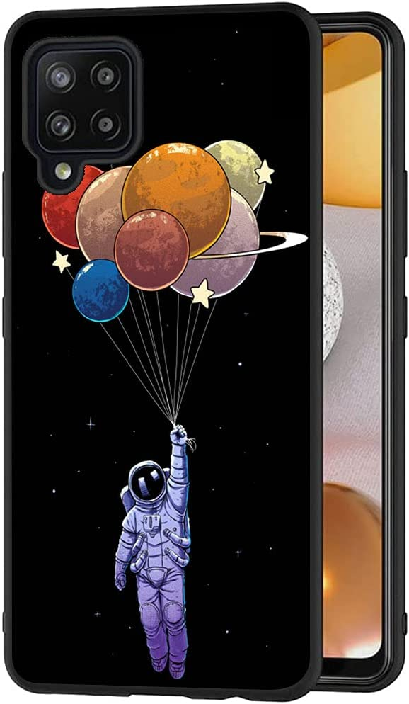 Esakycn for Galaxy A42 5G Case, Phone Case Silicone Black with Rose Pattern Design Ultra Slim Shockproof Soft TPU Girls Women Protective Cover Skin for Samsung Galaxy A42 5G 6.6 inch. Astronaut 3