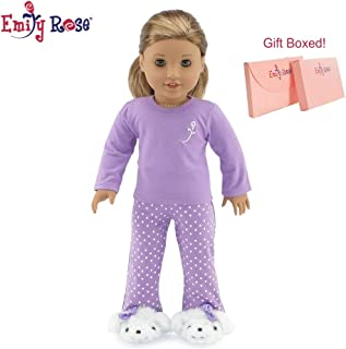 Emily Rose 18 Inch Doll Clothes for American Girl Dolls | Purple Polka Dot Doll Pajamas PJs, Including Fluffy Puppy Doll Slippers! | Gift Boxed! | Fits 18