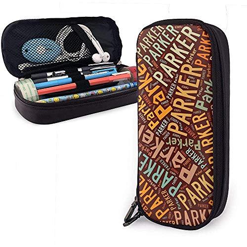 Parker - Amerikaanse achternaam hoge capaciteit lederen etui, potlood pen briefpapier houder grote opbergzak doos organisator, draagbare cosmetische tas