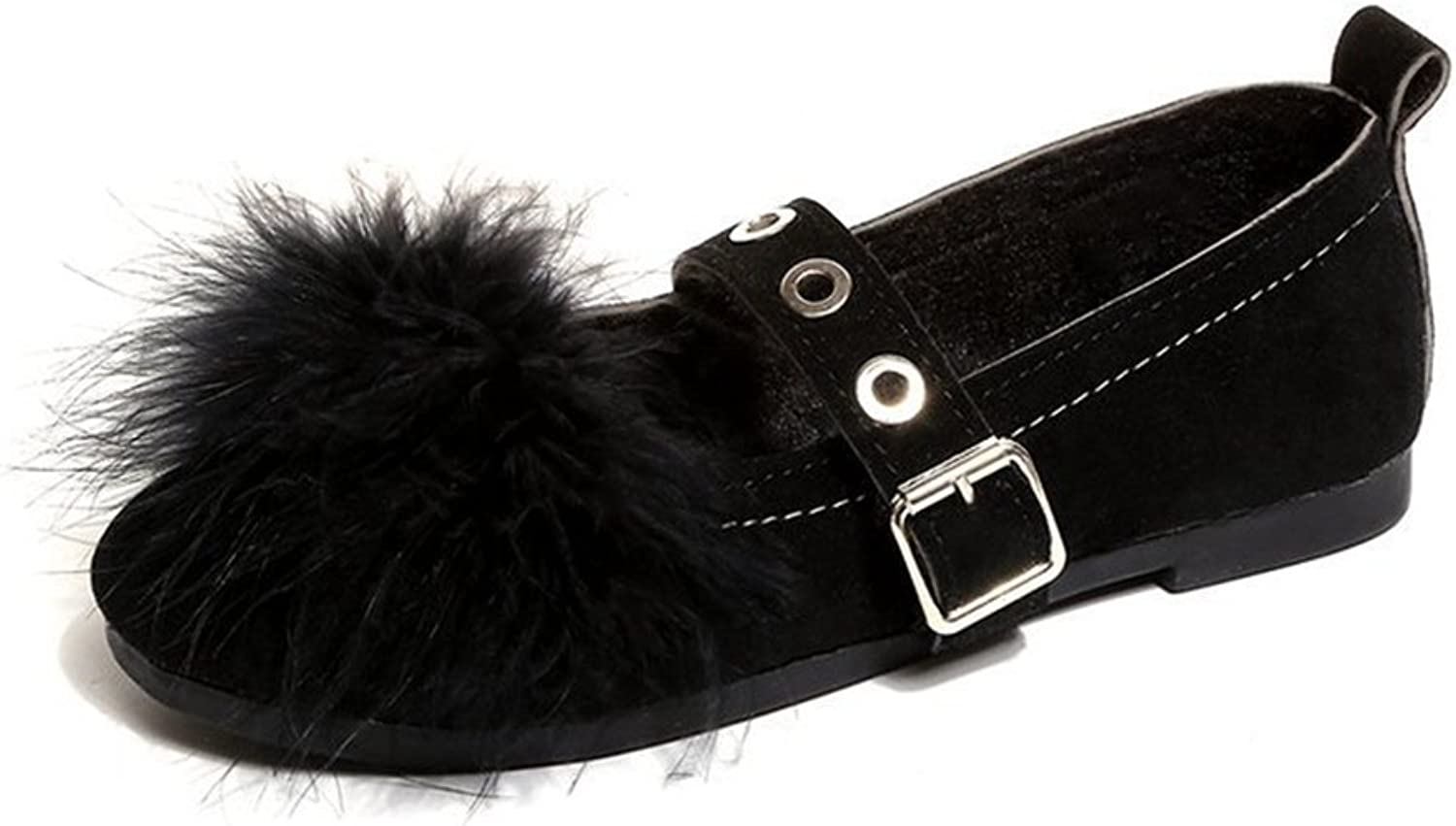 Btrada Women's Fluffy Pom Pom Moccasins shoes Flat Slip On Boat shoes Casual Driving Moccasins