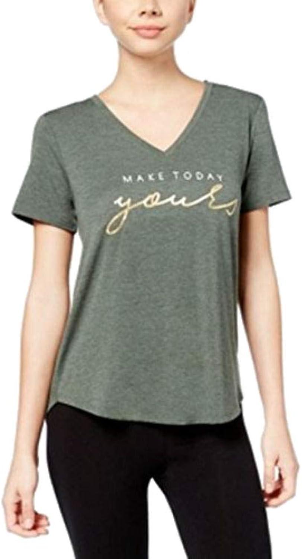Alfani Graphic Pajama TShirt Calm Sage Heather XS