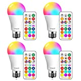 Yangcsl LED Light Bulbs 75W Equivalent 1200lm, RGB Color Changing Light Bulb, 6 Moods - Memory - Sync - Dimmable, A19 E26 Screw Base, Timing Remote Control Included (Pack of 4)