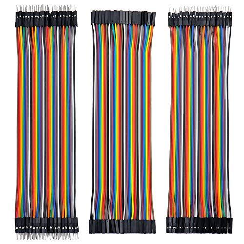 Jumper Wire 40x 20cm Female-Female, Male-Female, Male-Male Kabel Steckbrücken 28AWG Drahtbrücken für Arduino Raspberry Pi (3er Set)