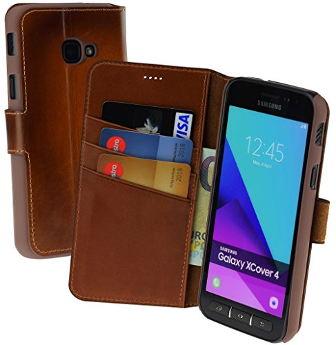 Suncase Book-Style (Slim-Fit) Ledertasche Leder Tasche Schutzhülle Hülle Hülle (mit Standfunktion & Kartenfach) kompatibel für Samsung Galaxy Xcover 4 in Burned - Cognac