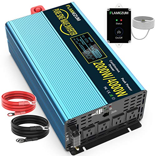 2000W Pure Sine Wave Power Inverters 12V DC to 110V/120V AC Converter-4 AC Outlets Car Inverter with 2 USB Port-Remote Control and LCD Display Dual Cooling Fans Inverter for CPAP RV -Solar System
