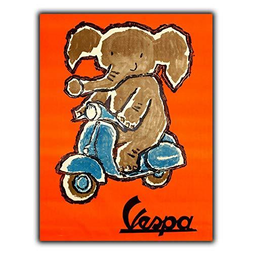 MiMiTee Vespa Elephant metalen waarschuwingsbord, vintage, metaal, voor op de posters, voor in de auto, op het stuur, in de café, in het openbaar geschenk
