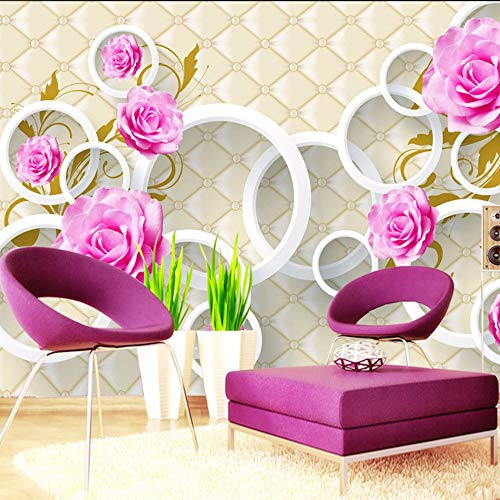 Zxdcd op maat bedrukt behang roos bloem 3D zacht hoesje lederen tv achtergrond muurpapier woonkamer bank slaapkamer 200x140cm