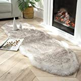 Ashler Ultra Soft Faux Fox Fur Rug White Brown Fluffy Area Rug, Carpets Fluffy Rug Chair Couch Cover for Bedroom Floor Sofa Living Room 2 x 6 Feet
