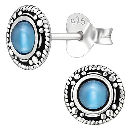 EYS JEWELRY Pendientes para señora círculo redondo 7 x 7 mm Ojo de gato plata de ley 925 oxidada azul-claro con la caja Pendientes mujer