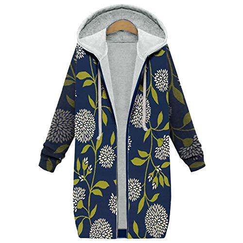XOXSION - Parka invernale da donna, con cappuccio, stile vintage, alla moda, elegante cappotto in peluche, giacca invernale calda con cappuccio, giacca in pelliccia B-blu XXL