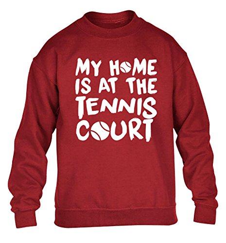 Flox Creative My Home Is at The Tennis Court - Maglione per bambini da 3 a 4 anni fino a 12 – 14 anni Rosso 9-11 Anni
