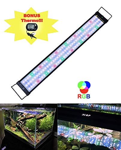 """JC&P Full Spectrum Aquarium LED Light with Extendable Brackets (28""""-36"""" (72-92 cm) with Red, Green, Blue and White LEDs Aquatic Fish Tank Light"""