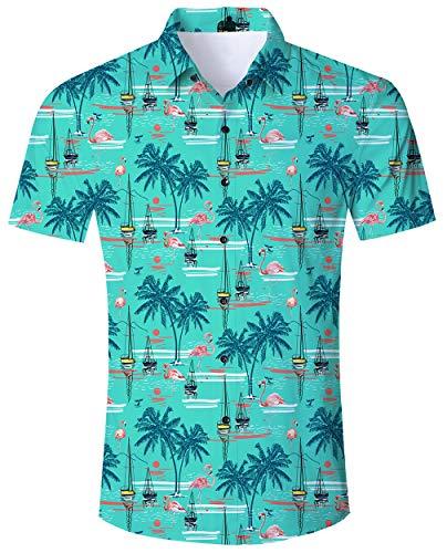 Goodstoworld Camisas Hawaianas Hombre Cara Hawaiana Playa Flimingo montaña Primavera Camisetas Mens Hawaii t...